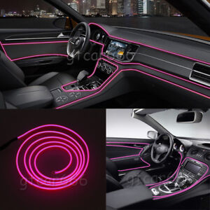 3m Pink El Wire Car Interior Decoration Cold Light Line Fluorescent Neon Strip