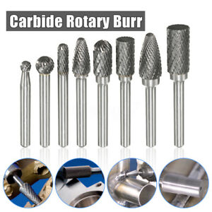8x Solid Carbide Double Cut Rotary Bur Burr Grinder File Power Tool 1 4 Shank