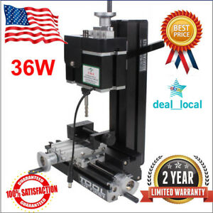 36w Aluminum Metal Mini Milling Machine Diy Woodworking Tool Student Modelmaking