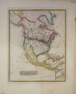 Rare North America 1822 Map Lucas Fielding Jr New Spain