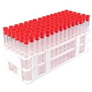 Bipee 90 Tube 13x100mm Clear Plastic Test Tube Set With Caps And Rack
