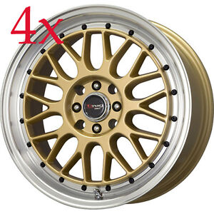 Drag Wheels Dr44 15x7 4x100 4x114 Gold Rims For Altima Centra Neon Prius Golf Xb