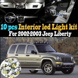 10pc Super White Car Interior Led Light Kit Package For 2002 2003 Jeep Liberty