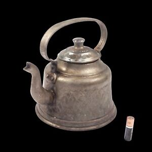 Antique Hand Hammered Embroidery Style Pattern Copper Tea Kettle