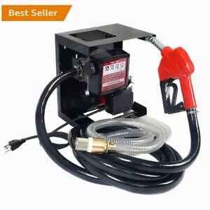 New 110v Electric Diesel Oil Transfer Pump Fuel Manual Nozzle Hose W Meter My