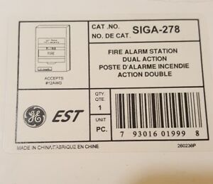 Edwards Est Siga 278 Fire Alarm Station Dual Action New Free Shipping