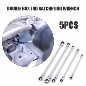 Flex Head Ratcheting Wrench Set 5 Pc Metric Full Polish Mechanical Tools