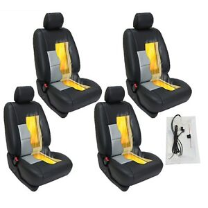 4 Seats Carbon Fiber Universal Heated Seat Heater Kit Car Cushion Round Switch