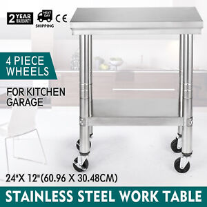 24x12 Kitchen Stainless Steel Work Table For Food Handling With 4 Caster Wheels