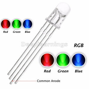 100 200 500 1000pcs 5mm 4pin Rgb Tri color Led Light Red Green Blue Common Anode