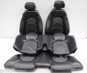 Jdm 00 Jaguar Xkr Silverstone Front Rear Seats Black Red Stitches Leather