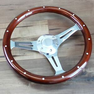 14 Inch Slotted 3 Spoke Steering Wheel Riveted Wood Grip 6 Hole Classic Euro