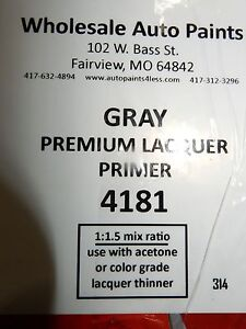 High Build Premium Acrylic Lacquer Primer Gray Gallon Fast Dry Easy Sanding 1k