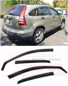 Eos Visor In channel Smoke Tinted Side Window Deflectors For 07 11 Honda Cr v