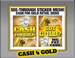Cash For Gold Jewelry See Through Window Banner Sign Pawn Shop Neon Alternative