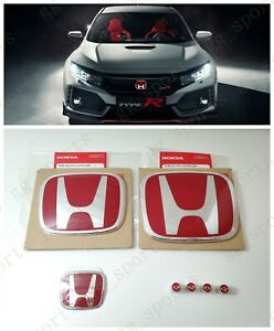 Type R Red H Emblem Front Rear Steering Fit For 2016 2020 Honda Civic Hatchback