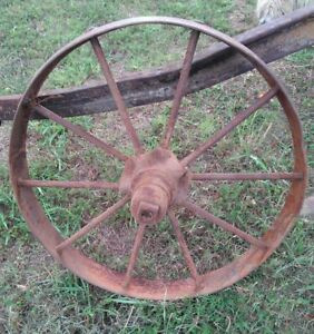 Antique Primitive Country Farm Machine Steel Metal Iron Wagon Wheel 24
