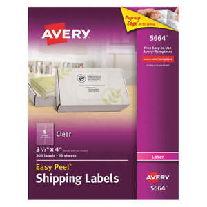 Avery Paper Label 4 wx3 1 3 h 300 No Of Labels pk50 5664 Clear