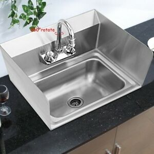 Commercial Hand Kitchen Sink Faucet Stainless Steel Prep Side Splash Wall Mount