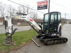 2017 Bobcat E35i Mini Excavator 105 Hrs Cab Ac heat 2 Spd X change Coupler