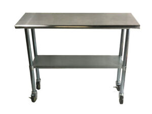 Stainless Steel Work Prep Table With 4 Casters wheels 24 X 48