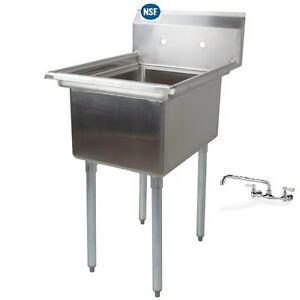 Stainless Steel One Compartment Prep Mop Sink 22 X 20 With Faucet