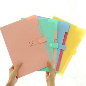 Zrse 5 Pockets Plastic Expanding File Folders A4 Letter Size Snap Closure