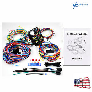 21 Circuit Wiring Harness For Chevy Mopar Ford Hotrods Universal X Long Wires Us