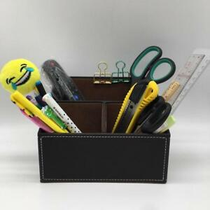 Classic Leather Wood Desk Organizer Office Desk Accessory Case Pen Pencil Holder