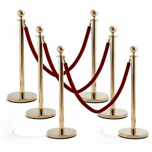 Polished Brass Stanchion Posts Crowd Control 6 Posts 4 5 Foot Red Velvet Ropes