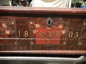 Antique German Dutch Painted Folk Art Wedding Trunk Primitive Chest Early 19thc