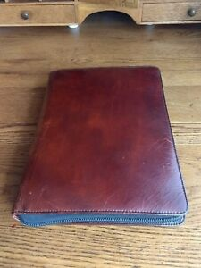 Bosca Zipped Leather Business Planner Organiser Preowned