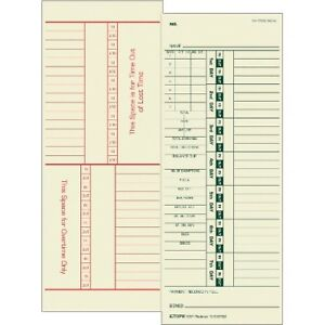 Tops 1257 Weekly Time Cards 500 box