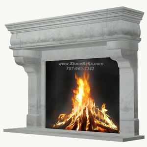 Fireplace Mantel Large Cast Stone Rustic Simple Stone Old World Mantle