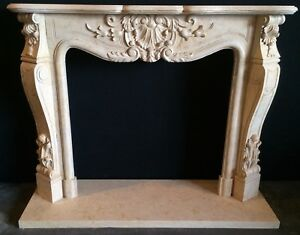 French Limestone Fireplace Mantel Hand Carved Stone Mantle Aged In Stock