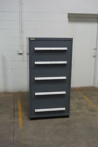 Used Stanley Vidmar 5 Drawer Cabinet Industrial Tool Storage 1468 Gray