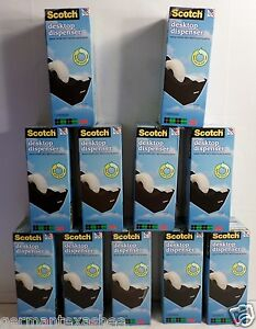New Lot Of 11 Scotch 3m Black Tape Dispensers 1 Core Weighted Base Non skid C38