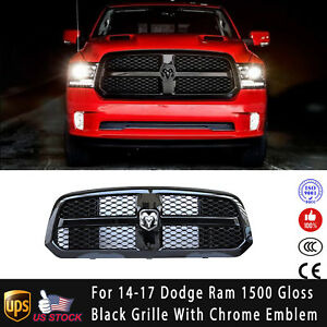 For 2014 2017 Dodge Ram 1500 Black Front Bumper Mesh Grill Grille With Logo
