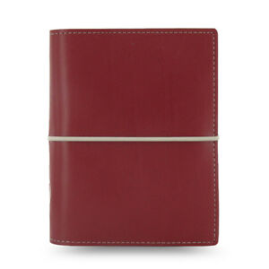 Filofax Pocket Size Domino Diary Notebook Dark Red Leather Organiser 027849