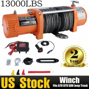 12v 13000lbs Electric Winch Towing Truck Synthetic Rope Off Road 12000lbs Us