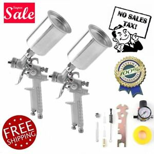 Air Spray Gun 2pc Pro Hvlp Paint Auto Car Automotive Shop Painting Tools Kit Set