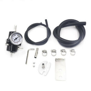 Universal 0 140 Psi Adjustable Fuel Pressure Regulator W Gauge Black