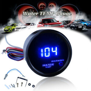 2 52mm Water Temp Gauge Blue Digital Led Temperature Car Universal Auto Meter