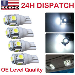 4pcs 360 T10 W5w 5smd Led Wedge Light White Plate License 168 194 2825 Bulbs