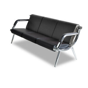 3 seat Office Guest Chair Furniture Bank Reception Barber Waiting Room Black
