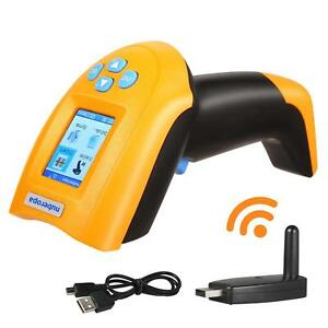 Nuberopa Wireless Barcode Scanner 433m Handheld Cordless Lcd Screen Rechargeable