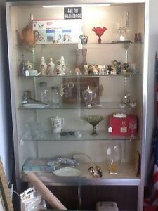 Display Case Lighted 7 x4 x 15 depth Glass Doors And Shelve