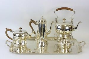 Sterling Silver 7 Piece Coffee Tea Service With Tray By Ensko