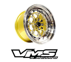 X2 Vms Racing Revolver 15x8 Gold Polished Drag Rims Wheels For Honda Civic Ek