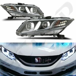 For 2012 2013 Honda Civic Drl Bar Projector Headlights Clear Lamp Pair